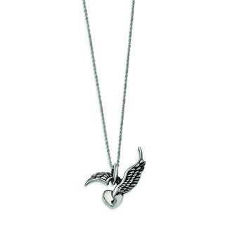 Versil Stainless Steel Heart and Wings 20-inch Necklace