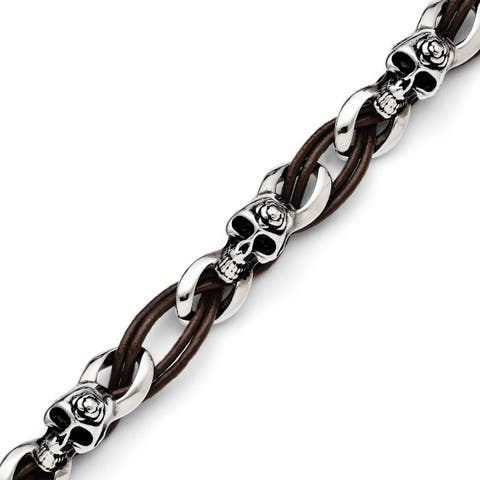 Chisel Men's Stainless Steel Skulls/Roses Brown Leather Bracelet