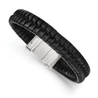 Versil Chisel Men's Brushed Black Leather Stainless Steel Bracelet