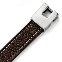 Versil Chisel Men's Stainless Steel Polished Brown Leather Bracelet
