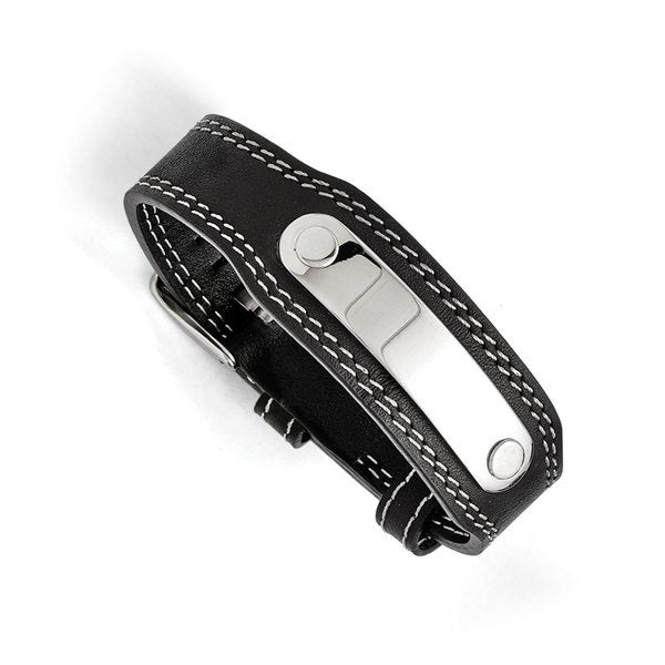 aa7d65e86266 Shop Chisel Men s Stainless Steel Genuine Black Leather Bracelet - On Sale  - Free Shipping Today - Overstock - 12031761