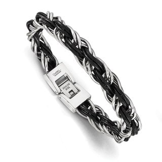 Versil Chisel Men's Polished Stainless Steel Genuine Leather Braided Bracelet