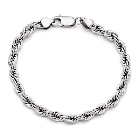 Chisel Men's Stainless Steel Polished 6mm Rope Chain Bracelet