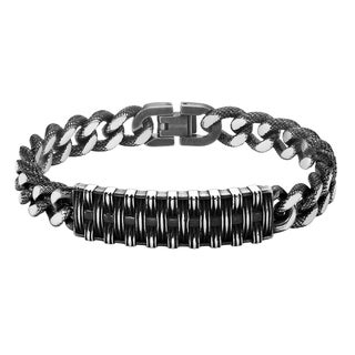 Cambridge Black Stainless Steel Woven Texture Bracelet