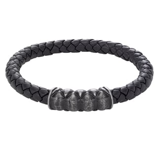 Cambridge Jewelry Silver Stainless Steel Black Leather Snake Texture Bracelet