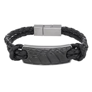 Cambridge Jewelry Steel/Leather Men's Textured Bracelet