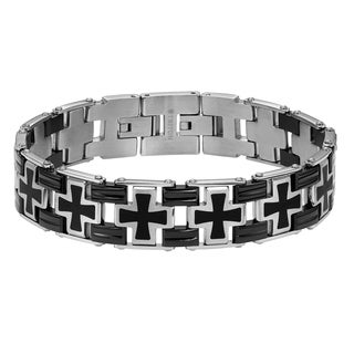 Cambridge Men's Stainless Steel and Black Cross Link Bracelet