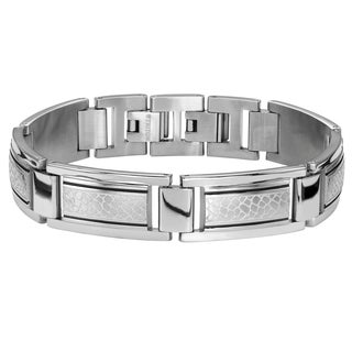 Cambridge Men's Steel Acid-etched Bracelet