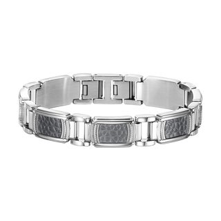 Cambridge Jewelry Silvertone Stainless Steel and Titanium Bracelet