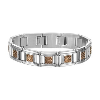 Cambridge Jewelry Silvertone Stainless Steel Bronze PVD Bracelet
