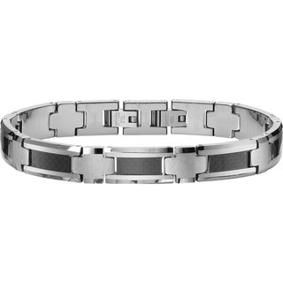 Cambridge Jewelry Tungsten Carbide Men's Bracelet with Carbon Fiber Inlay