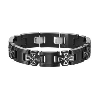 Cambridge Stainless Steel and Titanium Celtic Crossing Link Bracelet