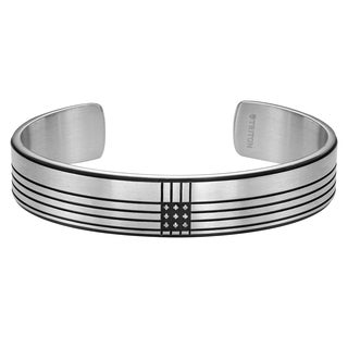Cambridge Jewelry Black Ion-plated Stainless Steel Diamond Accent Cuff Bracelet