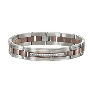 Cambridge Jewelry Two-tone Ion-plated Titanium/Stainless Steel 9-inch Bracelet