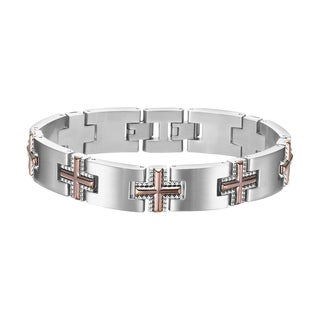 Cambridge Men's Stainless Steel Brown Titanium Cross Bracelet