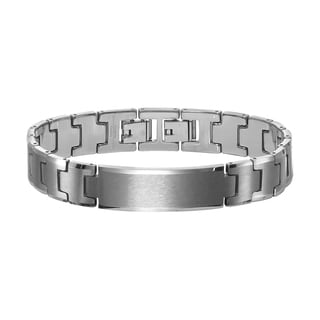 Cambridge Jewelry Silver Tungsten Carbide ID Bracelet with Extender