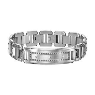 Cambridge Men's Stainless Steel Black Diamond ID Bracelet