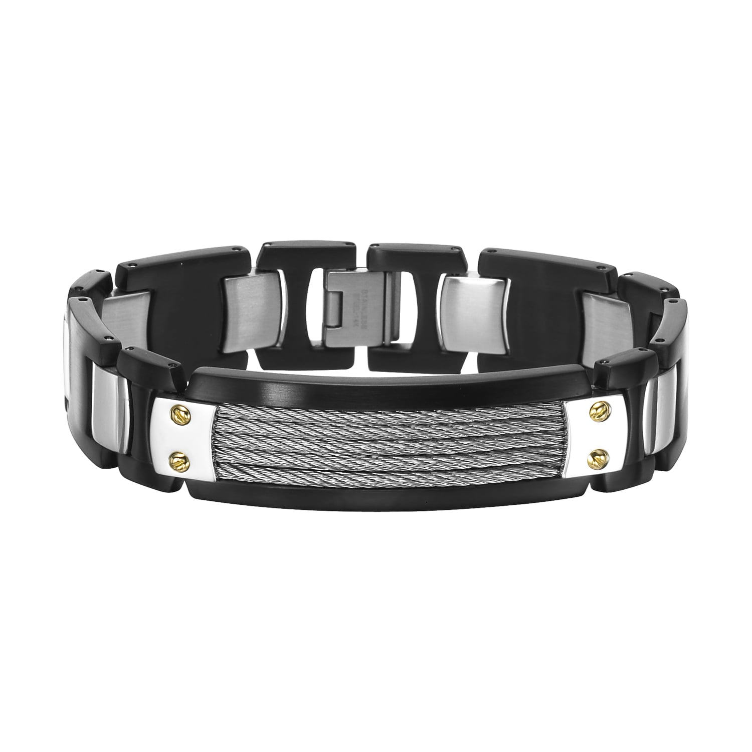 Cambridge Stainless Steel and 14k Gold Accent Bracelet (S...