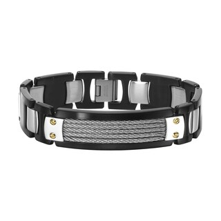 Cambridge Stainless Steel and 14k Gold Accent Bracelet