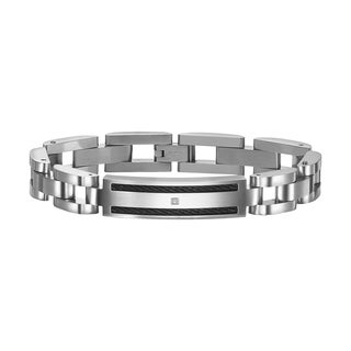 Cambridge Jewelry Stainless Steel Diamond Bracelet