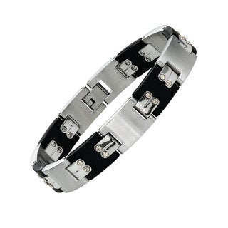 Cambridge Stainless Steel and Rubber Striped Bracelet