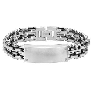 Cambridge Jewelry Stainless Steel Diamond ID Bracelet