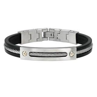 Cambridge Jewelry Two-tone Stainless Steel/Rubber Bracelet
