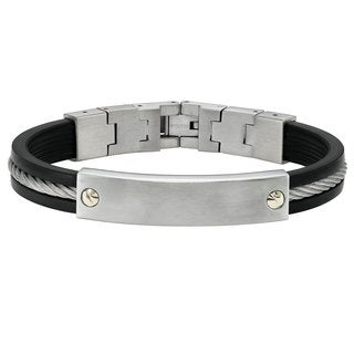 Cambridge Jewelry Silver and Black Stainless Steel and Rubber ID Bracelet