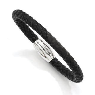 Versil Black Leather and Stainless Steel 8.5-inch Bracelet|https://ak1.ostkcdn.com/images/products/12031930/P18904641.jpg?impolicy=medium