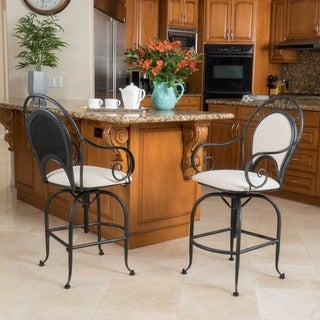 Christopher Knight Home Thea Swivel Fabric Armed Barstool (Set of 2)