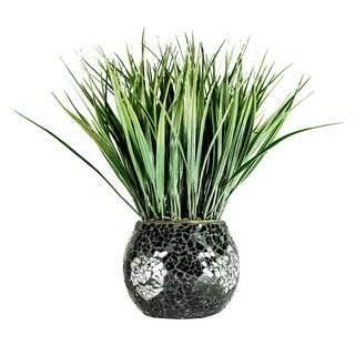Fresh Grass in Black and Silver Mosaic Pot