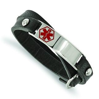 Versil Chisel Stainless Steel Leather Wrap Medical Bracelet