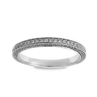 Azaro Jewelry 14k White Gold 5/8ct TDW Diamond 3-Row Eternity Band Size 6