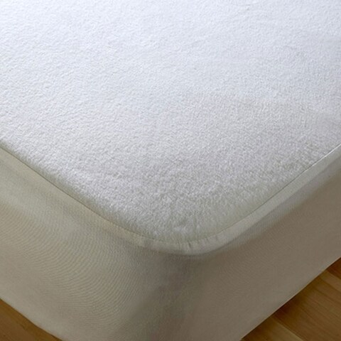 Terry Cotton Fitted Mattress Pad - White