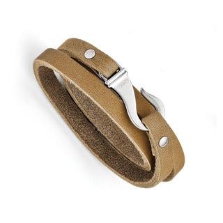 Versil Stainless Steel Light Brown Leather Wrap Bracelet
