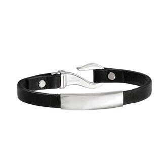 Versil Stainless Steel Black Leather ID Bracelet