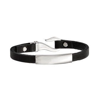 Chisel Stainless Steel Black Leather ID Bracelet