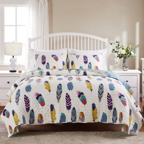 Greenland Home Fashions Dream Catcher Teal 3-piece Quilt Set