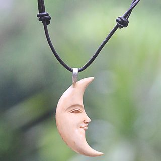 Handmade Bone Leather 'Serene Crescent Moon' Necklace (Indonesia)