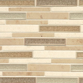 Kismet Collection Tan Glass and Stone Tile (Box of 10 Sheets)