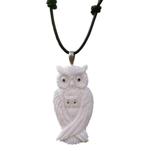 Bone Leather 'White Owl Family' Necklace