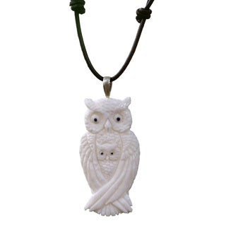 Handcrafted Bone Leather 'White Owl Family' Necklace (Indonesia)