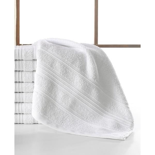 Pure Cotton Solomon Collection White Cotton 13-inch x 13-inch Wash Cloths (Set of 8)
