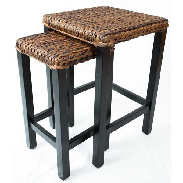 Shop Birrock Home Abaca Brown Rattan Nesting Tables Free