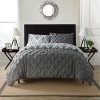 VCNY Heather Reversible Pintuck 3-piece Duvet Cover Set