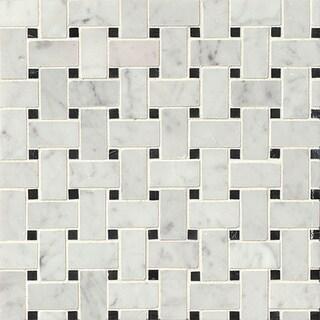 Bedrosians Basket Weave Grey Mosaic Stone Tile (Box of 10 Sheets)