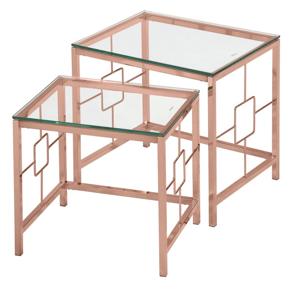 Athena Rose Gold Metal And Gl 2 Piece Nesting Table Set