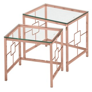 Athena Rose Gold Metal and Glass 2-piece Nesting Table Set