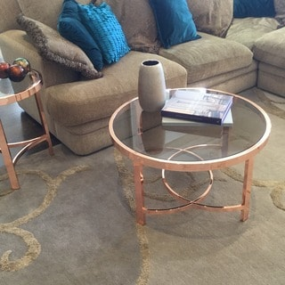 Strata Rose Gold And Smoked Glass Coffee Table