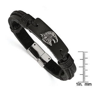 Versil Chisel Men's Stainless Steel Polished Antiqued Eagle Head Black Leather Bracelet